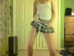 Skinny College Teenie Blonde Strip and Tease 1