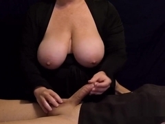 Big Tit MILF Lotion Massage - Great Lotion Handjob with Big Cumshot in 4K