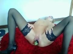 Blonde broad masturbates rough in fruit fetish video