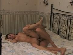 Hot big-titted chick rides a stiff schlong