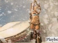 Group of massive boobs babes playing on artificial snow