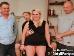 Chubby Blondie Bangs Bukkake Crew!