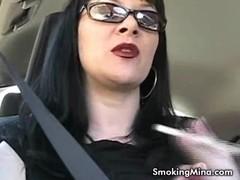 Brunette babe smoking sexy