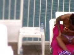 Petite tattooed Brunette with Pierced Nipple poolside pt 1o3