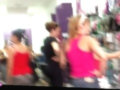 Blonde bitch in a pink tanktop and skirt shopping in an xxx candid video