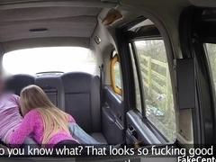 Sexy blonde got cumshot in taxi