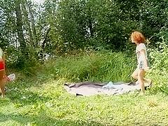 Outdoor trio convulse in agonorgasmos