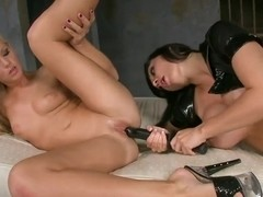 Precious sex chick brunette Aletta Ocean and blonde Barbie White are having great lesbian cuss out.
