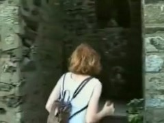 Beautiful red head fucks her pussy and fanny.