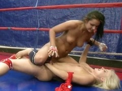 Brandy Smile do some kicking with her naked opponent