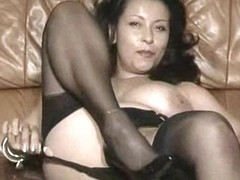 Buxom Latina MILF in provocative black lingerie