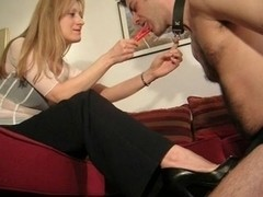 Fetish queen humiliates her tied slave