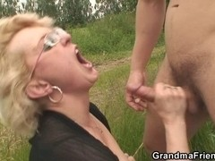 Old doxy is double drilled outdoors