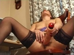 Holly sextoy in the one and the other holes - impure wench!
