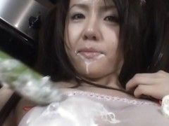 Chihiro Kawaoka Asian babe fondles her shaved pussy