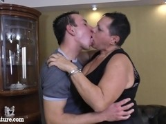 Fat mature woman licks young boy everywhere
