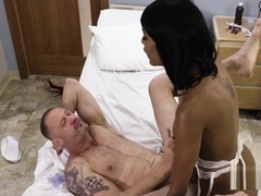 Guy gets fucked by black shemale nurse