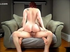 Redhead girl has wild sex on the sofa and swallows