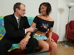 TrickyOldTeacher - Pigtailed geek fucked hard and gives blowjob to tutoring older tutor