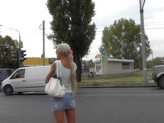 Charming golden-haired in outdoor upskirt vid