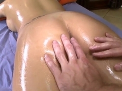 Eva Angelina's butt is oiled and fingered