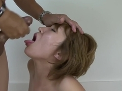 Slutty Asian lass getting her pussy plowed with two huge coc