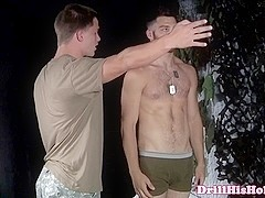 Muscular bottom loving stud jizzed on