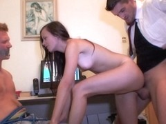 Make Him Cuckold - Punished with girlfriend fuck