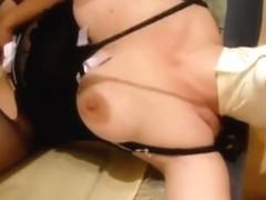 Masked breasty hottie engulfing it nicely