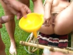 Horny Agata enjoys in outdoor group sex
