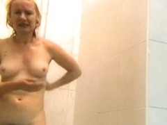 Blonde MILF with huge butt and unshaved beaver in the shower
