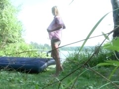 Blonde Girlfriend Hailey Goes Down By The Water To Fuck