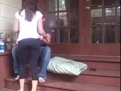 Wife having sex with her husband on the stairs
