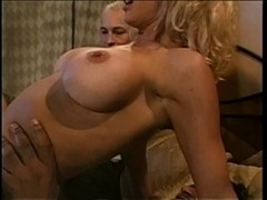 Sexy married blond with heavy mounds sucks dark chap off then bonks