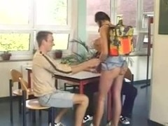 Pigtailed german schoolgirl double penetrated