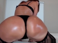 Playful Oiled Up Milf In Sexy Black Lingerie