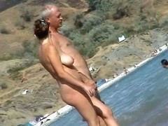 Nudist beach voyeur preys on naked mature hotties