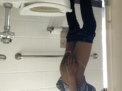 Skinny black college babe i caught in the bathroom