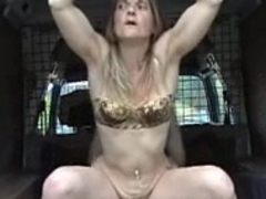 Horny Blonde French hottie bonked in public woods