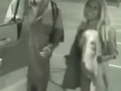 Hot public tease bangs a guy in a parking garage