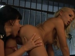 Prison break with lusty and busty lesbians