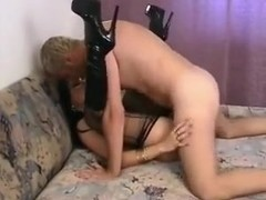 Dark-haired slut with long sharp nails is hunting for cock