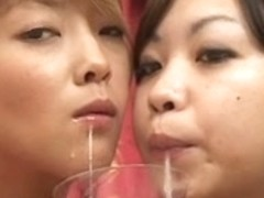 2 hawt Japanese hotties spit in a glass and...