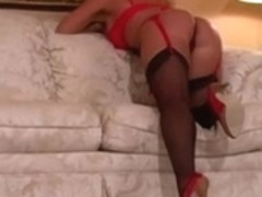Erin clothed in hot red garter strap, FF nylons & heels