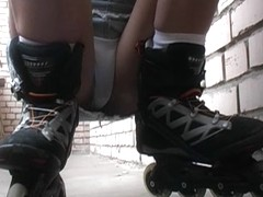 A youthful hotty on roller skates drilled for all to watch