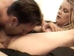 Dirty blonde does her BF with a strapon