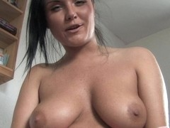Massive big tits exposed in a free down blouse video