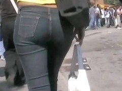 Nice ass caught on cam from behind by a perverted voyeur