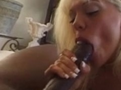 Golden-Haired throat drains a huge darksome strapon