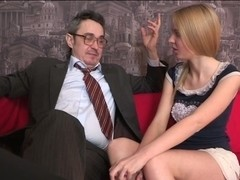 Horny teacher devouring lass